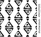 seamless pattern with brush... | Shutterstock .eps vector #494129101