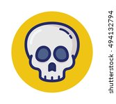 skull linear color icon   Shutterstock .eps vector #494132794