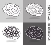 human brain and gears icon... | Shutterstock .eps vector #494137267