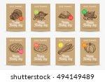 vector hand drawn thanksgiving... | Shutterstock .eps vector #494149489