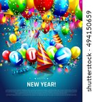 new year greeting card with... | Shutterstock .eps vector #494150659