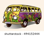 hippie vintage bus  retro car ... | Shutterstock .eps vector #494152444
