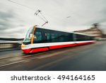 daily life in the city. tram of ... | Shutterstock . vector #494164165
