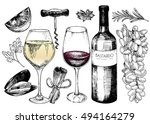 vector hand drawn set of wine... | Shutterstock .eps vector #494164279