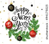 happy new year 2017 poster card.... | Shutterstock .eps vector #494175025