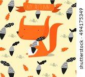 squirrel scandinavian | Shutterstock .eps vector #494175349