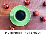 cup of tea and christmas balls | Shutterstock . vector #494178109