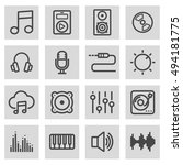 vector black line music icons... | Shutterstock .eps vector #494181775
