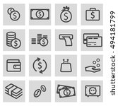vector black line money icons... | Shutterstock .eps vector #494181799