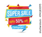 colorful super sale  paper tag... | Shutterstock .eps vector #494183395