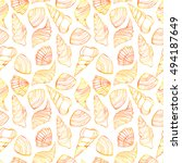 seamless pattern with seashells. | Shutterstock . vector #494187649