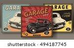 vintage poster  auto repair. | Shutterstock .eps vector #494187745
