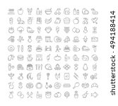 big set vector line icons meal  ... | Shutterstock .eps vector #494188414