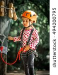 Sports Happy Kid Climbs Throug...