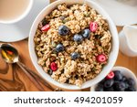 protein granola made from oat... | Shutterstock . vector #494201059
