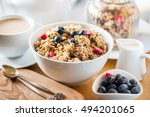 protein granola made from oat... | Shutterstock . vector #494201065