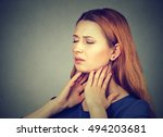 closeup girl with sore throat... | Shutterstock . vector #494203681