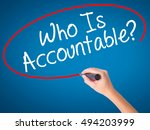 Small photo of Man Hand writing Who Is Accountable? with black marker on visual screen. Isolated on white. Business, technology, internet concept. Stock Image