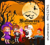 halloween kids in costume for... | Shutterstock .eps vector #494212741