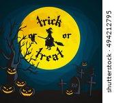 halloween night background with ... | Shutterstock .eps vector #494212795