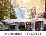 fashionable stylish beautiful...   Shutterstock . vector #494217631