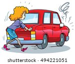woman pushing car out of... | Shutterstock .eps vector #494221051