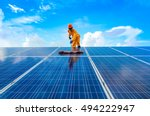a  man  working  on solar... | Shutterstock . vector #494222947