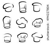 chef hats set. vector | Shutterstock .eps vector #494227804