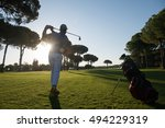 golf player hitting shot with... | Shutterstock . vector #494229319