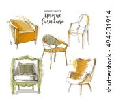 set of hand drawn furniture and ... | Shutterstock .eps vector #494231914