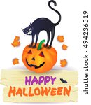 halloween pumpkin with black... | Shutterstock .eps vector #494236519