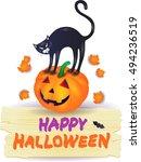 halloween pumpkin with black... | Shutterstock .eps vector #494236519