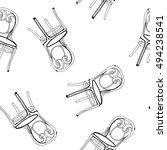 art sketched chair in retro... | Shutterstock .eps vector #494238541