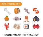 set of flat color icons.... | Shutterstock . vector #494259859