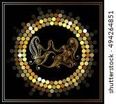 decorative zodiac sign gemini.... | Shutterstock .eps vector #494264851