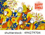 illustration of kid celebrating ... | Shutterstock .eps vector #494279704