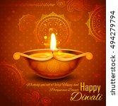 illustration of burning diya on ...   Shutterstock .eps vector #494279794