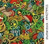 cartoon cute doodles new year... | Shutterstock .eps vector #494279911