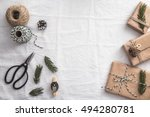 vintage gift boxes on the table.... | Shutterstock . vector #494280781