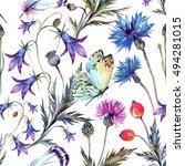 watercolor seamless pattern of... | Shutterstock . vector #494281015