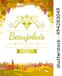 autumn vineyard poster. text... | Shutterstock .eps vector #494283049