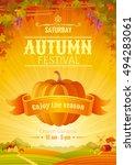 fall party invitation design.... | Shutterstock .eps vector #494283061
