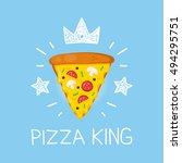 king pizza vector cartoon flat... | Shutterstock .eps vector #494295751