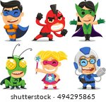 children in fun superhero... | Shutterstock .eps vector #494295865