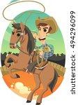 cowboy on bucking horse  | Shutterstock .eps vector #494296099