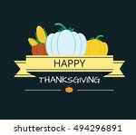 happy thanksgiving card ... | Shutterstock .eps vector #494296891