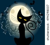 Stock vector vector cute halloween illustration with full moon bats and black cat 494298037