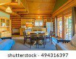 Modern Dining Room In Log Cabi...