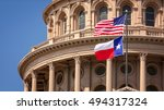 American And Texas State Flags...