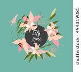 floral lily retro vintage... | Shutterstock . vector #494319085